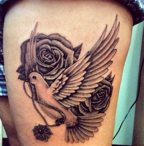 dove with rose tattoo dove and roses for my gramma thigh tattoos