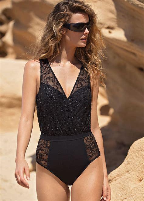 Lace V Neck Swimsuit buy gottex couture lace onyx v neck blouson swimsuit