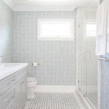 light blue and gray bathroom light blue washstand with gray glass backsplash tiles