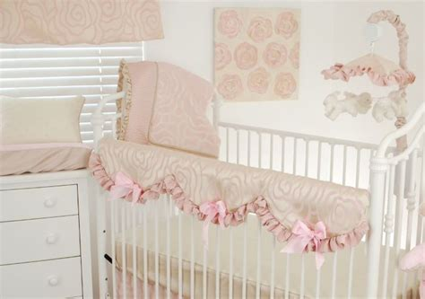 Satin Crib Bedding Shabby Chic Baby Nursery Idea With Blush Floral Satin Crib Bedding Pink Ruffles And Bows And