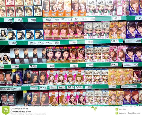 Shelf Of Hair Color by Hair Dye Products Sold In A Grocery Store Editorial Stock