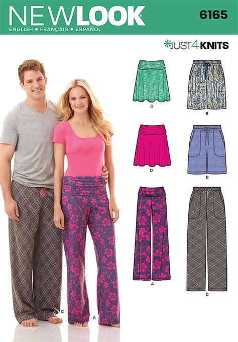yoga pants pattern simplicity new look 6165 misses and mens pants and shorts and misses