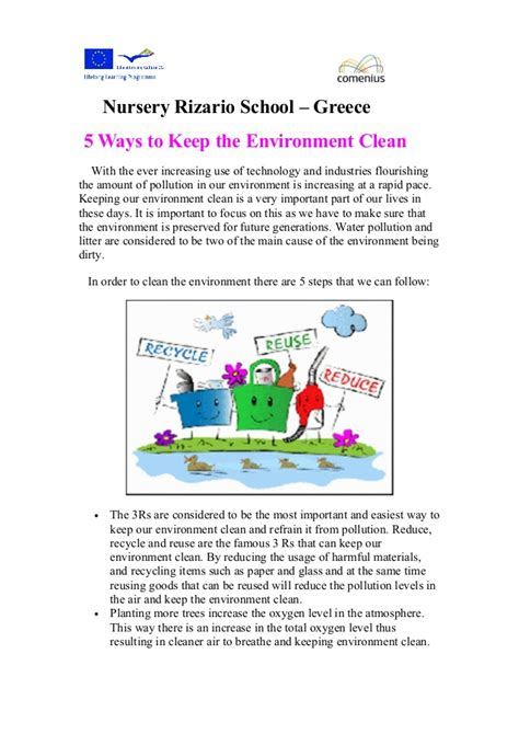 How To Keep The The by 5 Ways To Keep The Environment Clean
