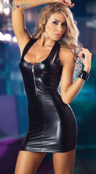 zipper front mini dress lame mini dress  black