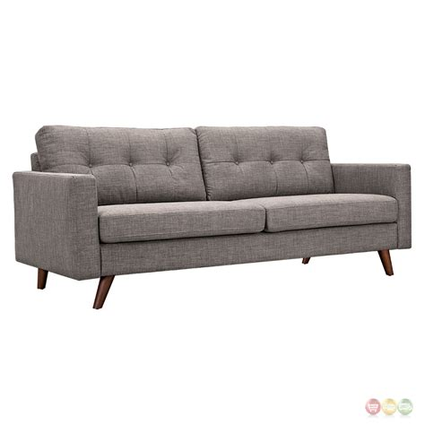 uma mid century modern grey fabric button tufted sofa w