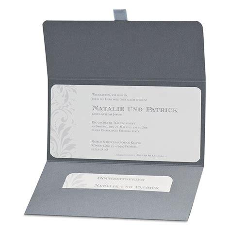 Einladungskarten Hochzeit Grau by Einladungskarte Hochzeit Quot Nathalie Quot In Grau Silber T 246 Nen