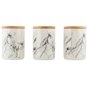 Modern Kitchen Canisters by Set Of 3 Ceramic Canisters Marble Look Tea Coffee Sugar