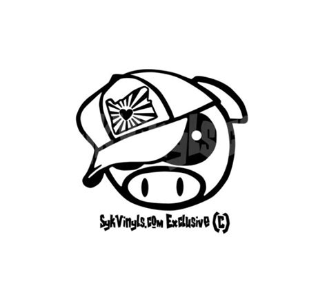 jdm angry pig with oregon rising sun hat sticker