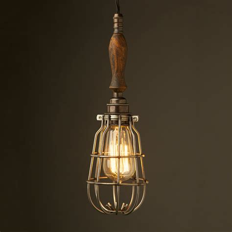 Cage Light Pendant Bronze Trouble Light Cage Pendant Wooden Handle Antiqued