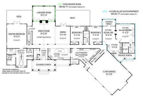 house floor plans with mother in law apartment pepperwood 9020 3 bedrooms and 2 baths the house designers