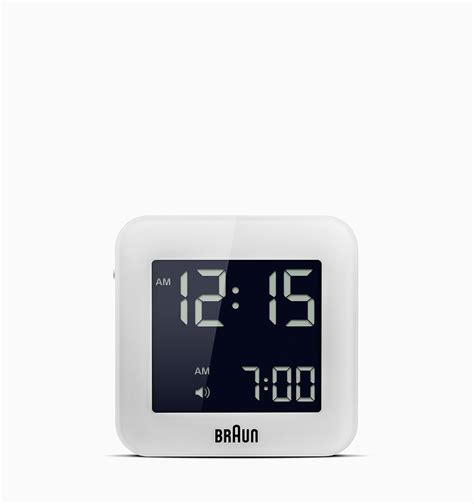small digital braun small square digital alarm clock white