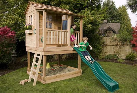backyard playhouse kits playhouse kits wooden cedar playhouses outdoor living today