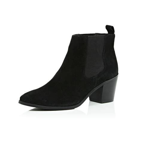 river island black suede mid heel ankle boots in black lyst