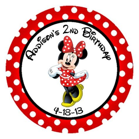 Sticker Stiker Label Pengiriman Disney Mickey Mouse Miki Tikus minnie mouse polka dot birthday sticker label