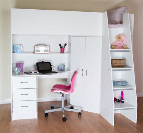 Childrens Cabin Beds With Desk by Cornwall Highsleeper Cabin Bed Desk Shelves Wardrobe White R2100w Ebay