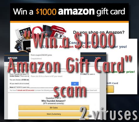 Amazon 1000 Gift Card Scam - win 1000 amazon gift card scam how to remove 2 viruses com