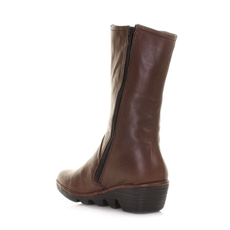 womens fly brown pama leather wedge mid