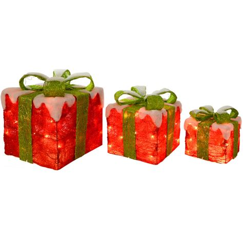 3 x festive red and green light up sisal gift boxes