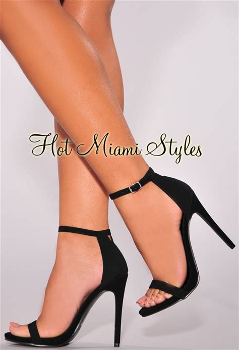 Brenda Open Toe Back Heels black faux suede open toe ankle high heel sandals