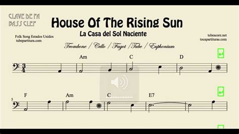 sun house music house of the rising sun sheet music for trombone cello