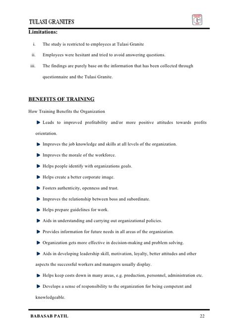 Mba Project Report On Employee Attrition by Employee Satisfaction Tulasi Granites Mba Project Report