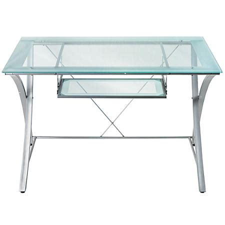 Realspace Zentra Computer Desk Silverclear By Office Depot Office Depot Glass Computer Desk