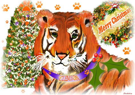 clemson tiger christmas greeting card