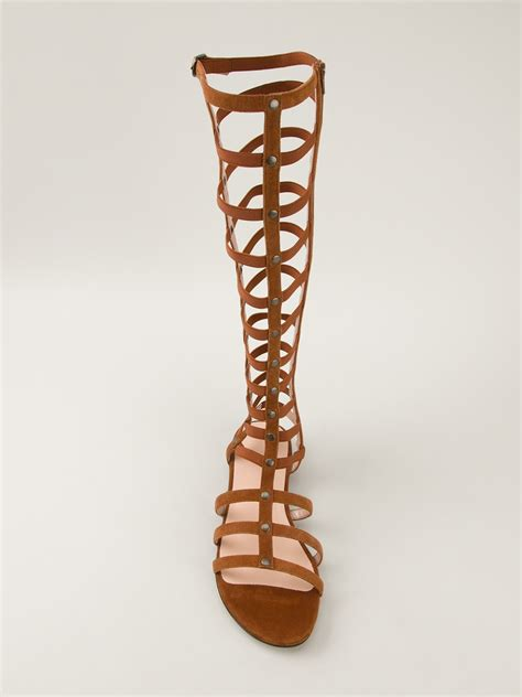 calf gladiator sandals lyst stuart weitzman mid calf gladiator sandal in brown