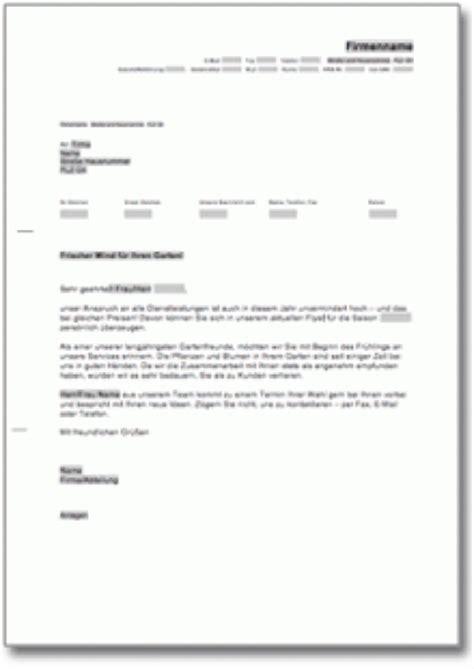 Werbebrief Vorlagen Muster Werbebrief F 252 R Gartenpflege