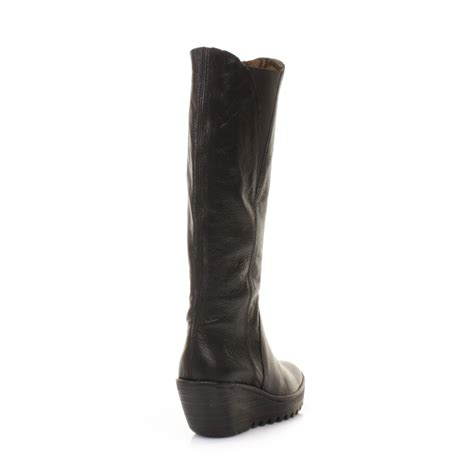 black leather knee high boots wedge heel womens fly yind black leather knee high wedge heel
