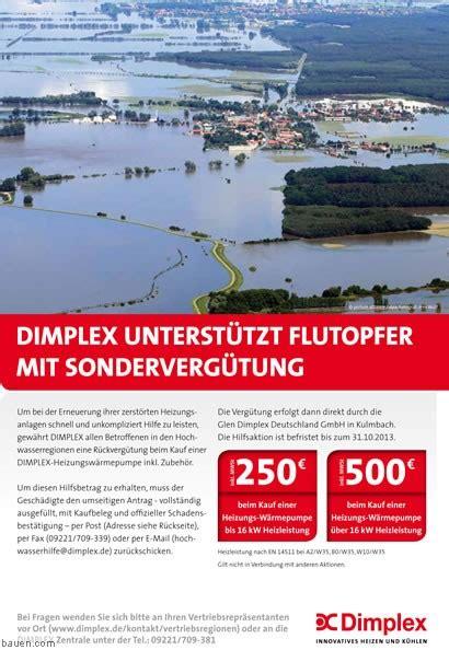 fertighaus kulmbach dimplex hilfsaktion f 252 r hochwasseropfer neuigkeiten