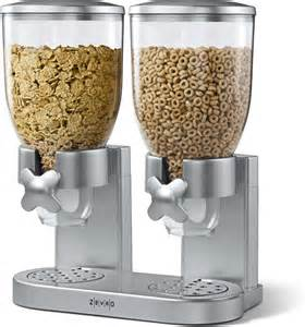Cereal Storage Container - zevro indispensable silver double cereal dispenser with free shipping