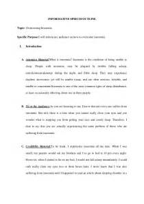 Outline For Informative Speech Template informative speech outline overcome insomnia