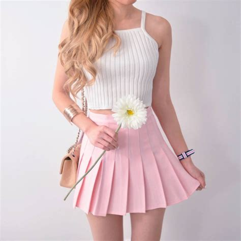 pleated tennis skirt pastel pink mango rabbit