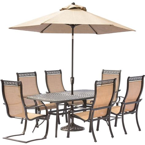 Patio Table Chairs Umbrella Set by Hanover Manor 7 Aluminum Rectangular Outdoor Dining
