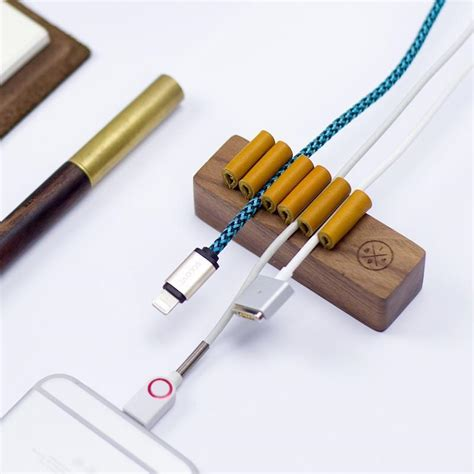 data cable wire holder walnut beech wooden cord holder headphone cable winder