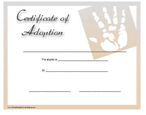 blank adoption certificate template child adoption certificate template free sle templates