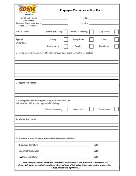 corrective form template best photos of corrective plan template sle