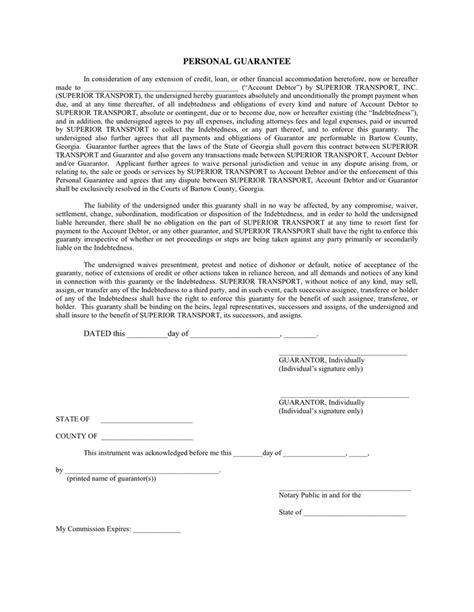 personal guarantee form personal guarantee in word and pdf formats