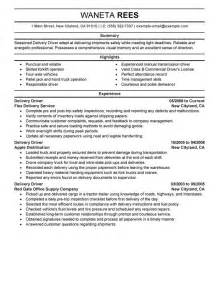 Delivery Driver Sle Resume by Delivery Driver Resume Sle My Resume