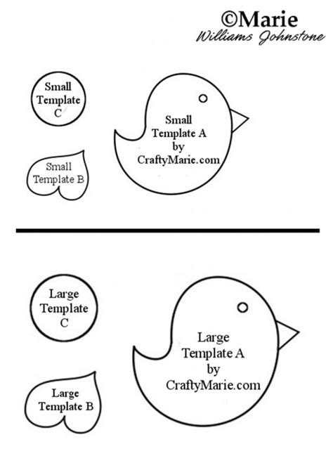 whimsical felt or paper bird template