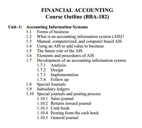 Financial Management Accounting Syllabus Mba by Financial Accounting Code 182 Bba Aiou Course Outlines