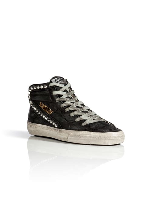 studded sneakers golden goose deluxe brand leather studded slide sneakers