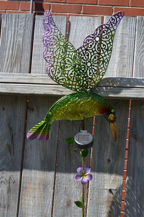 large solar hummingbird stake high quality yard decor