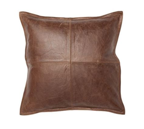 pieced leather pillow cover