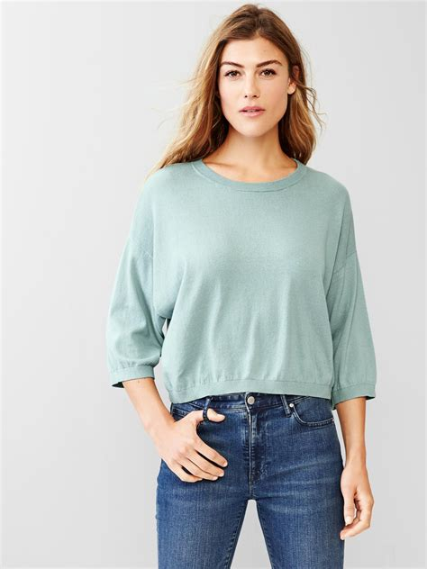 best sweater gap crop sweater top in blue mineral blue lyst