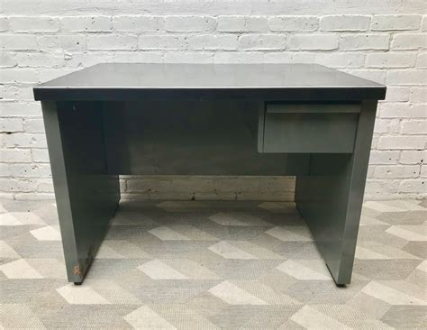 vintage industrial desk l vintage industrial metal desk with drawer 1970s for sale