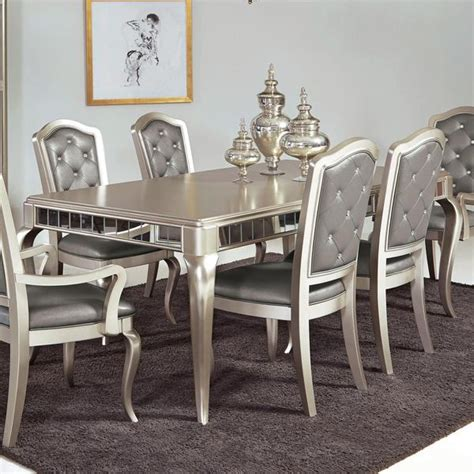 Mirrored Dining Room Set Table W 6 Chairs Katy Furniture
