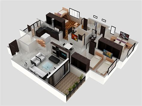 Home Design 3d 3 Bhk | 3 bhk apartment 3d interior design by zero designs