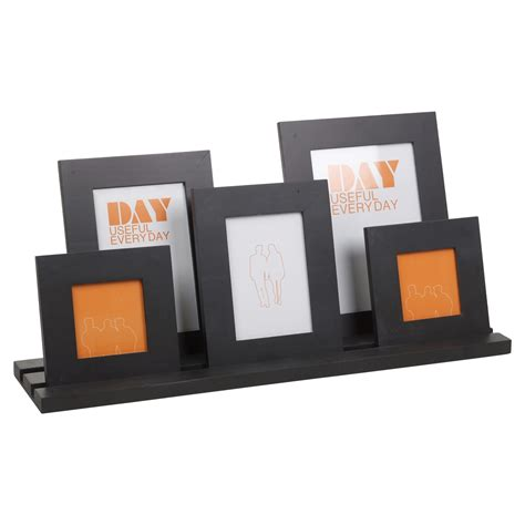 Photo Frame Display Stand 5 photo picture frames wooden holder display stand multi